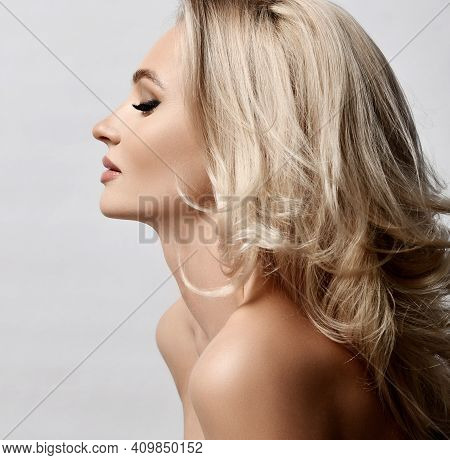 Healthy Skin, Woman Beauty Skin And Hair Portrait Natural Make Up. Profile Of Blonde Woman Face With