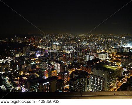 Singapore - 03 Mar 2012: The View On Marina At Night, Singapore