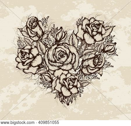 Floral Bouquet Of Summer Roses. Realistic, Hand-drawn Elements Of Flowers In The Shape Of A Heart. R