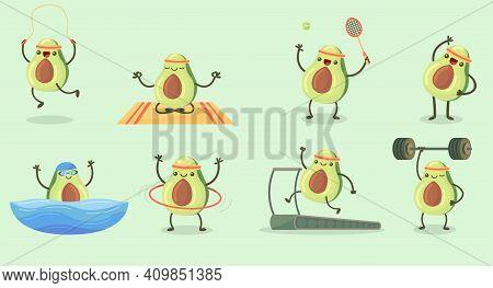 Happy Cute Avocado Exercising Flat Set For Web Design. Cartoon Avocado Fruit Character In Gym Isolat
