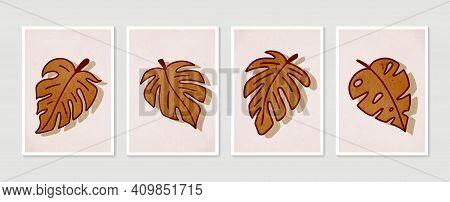 Monstera Wall Art Vector Set. Minimal And Natural Wall Art. Boho Foliage Line Art Drawing With Abstr