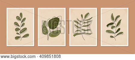 Collection Of Contemporary Art Posters. Botanical Wall Art Vector Set. Minimal And Natural Wall Art.