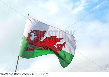 Welsh  Flag  Blowing  In Wind  Symbol  Wales  St Davids  Day