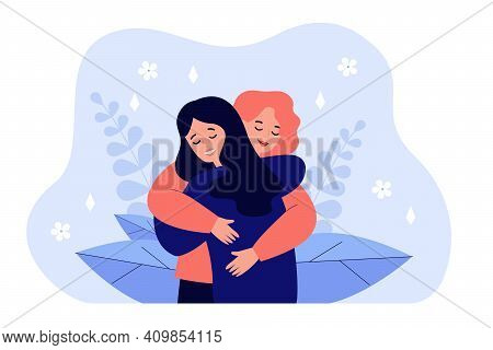 Female Friend Hug. Women Embracing Each Other, Expressing Love, Affection, Support. Vector Illustrat