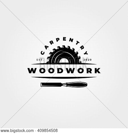 Vintage Carpentry Woodwork Logo Vector Icon Symbol Illustration Design