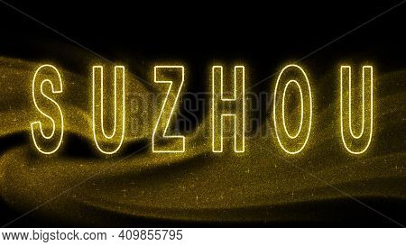 Suzhou Gold Glitter Lettering, Suzhou Tourism And Travel, Creative Typography Text Banner, On Black