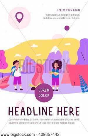 Scout Kids Camping In Mountains. Happy Children In Uniform Making Fire Near Tent. Flat Vector Illust