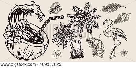 Vintage Monochrome Surfing Tropical Composition With Hibiscus And Plumeria Flowers Leaves Palm Trees