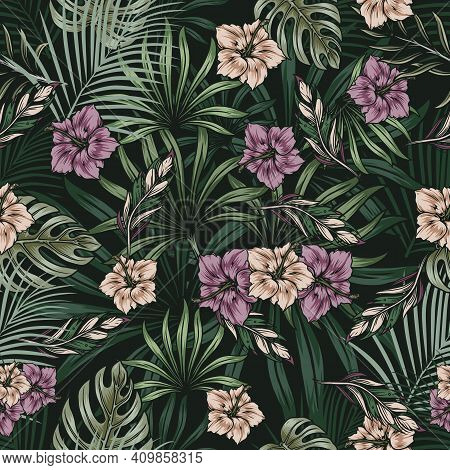 Vintage Tropical Natural Seamless Pattern With Blooming Hibiscus Flowers And Exotic Leaves Vector Il