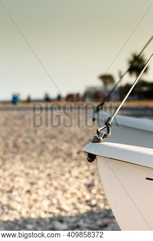 Catamaran Detail Close Up On The Beach. Vertical Image.