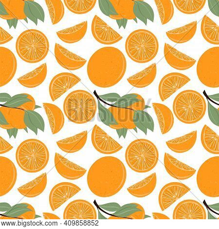 Fresh Textured Orange Seamless Pattern Vector Hand Drawn Illustration. Orange Slices, Half Slices Or