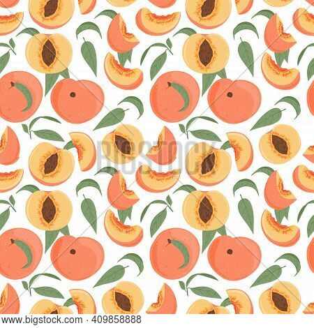 Ripe Peaches, Whole, Sliced And Half Sliced Peaches Seamless Pattern. Sweet Nectarine Fruits Vector