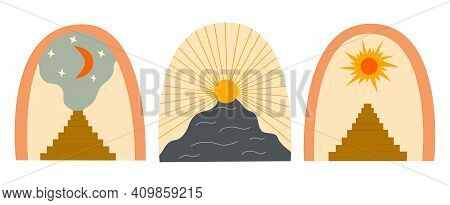 Set Of Abstract Art Arch And Sun, Stairs With Steps, Crescent And Stars Painting Background. Stairwa