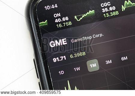London, Uk - February 2021: Gamestop Stock Market Price Graph On A Smart Phone