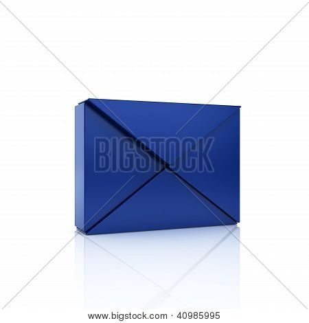 Abstract Blue Metallic Symbol With Envelope From Triangles.