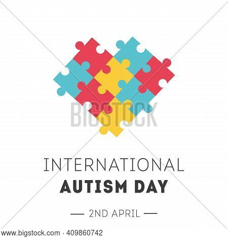 International Autism Awareness Day Banner. Colorful Puzzle Pieces In Form Of Heart. Jigsaw Mosaic As