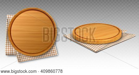 Wooden Pizza And Cutting Boards On Kitchen Towel. Round Trays On Folded Chequered Tablecloth, Natura
