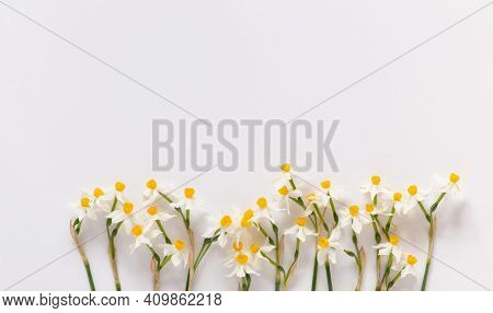 Spring Styled Stock Photo. Easter Concept. Feminine Desktop Scene With Bouquet Of Narcissus, Daffodi