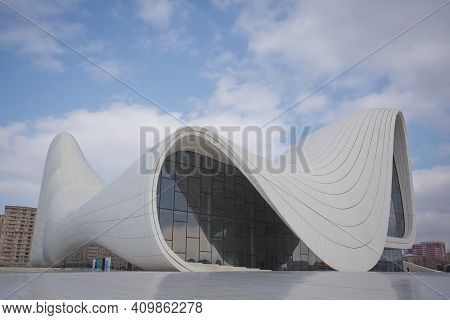 Heydar Aliyev Center, Famous Architectural Landmark Building In Baku By Zaha Hadid . Modern Cultural