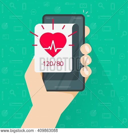 Person Monitoring Heart Beat Rate And Blood Pressure App Via Mobile Cell Phone Vector Flat Cartoon,
