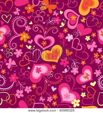 cute swirly hearts seamless background