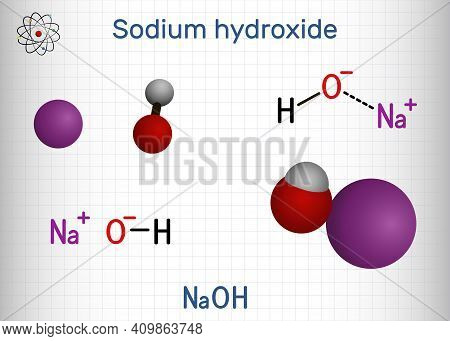 Sodium Hydroxide, Caustic Soda, Lye Molecule. Naoh Is Highly Caustic Base And Alkali, Ionic Compound