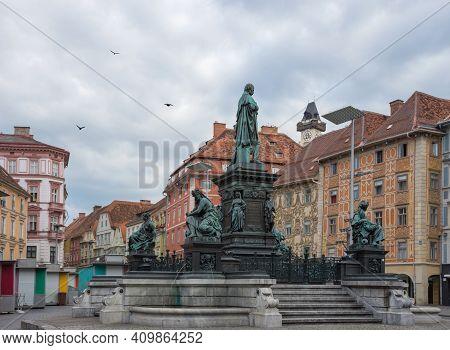 Erzherzog Johann Fountain At Hauptplatz (main Square), In Graz, Styria Region, Austria.