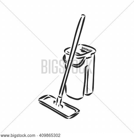 Vector Hand Drawn Bucket And Mop Outline Doodle Icon. Bucket And Mop Sketch Illustration For Print,
