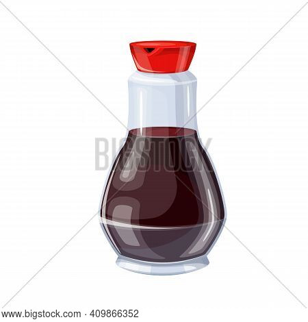 Glass Bottle Of Soy Sauce. Vector Illustration For Ad Soy Product.