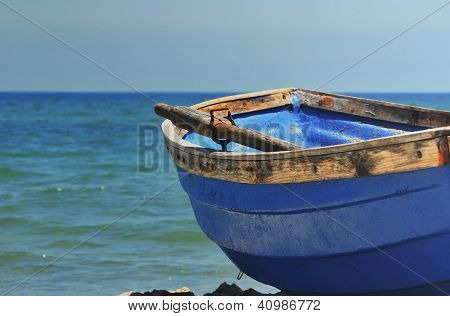lonely boat on the beach