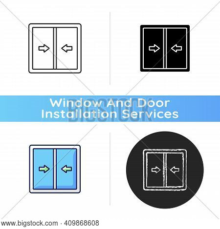 Sliding Windows Icon. Sliding Sashes Side-to-side. Double Hung Window. Easy Access To Fresh Air. Blo