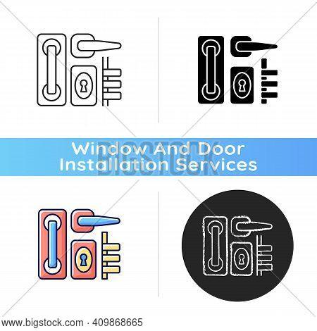 Door Hardware Icon. Locks And Levers. Latch Mechanism. Installation In Windows And Balcony Doors. Ke