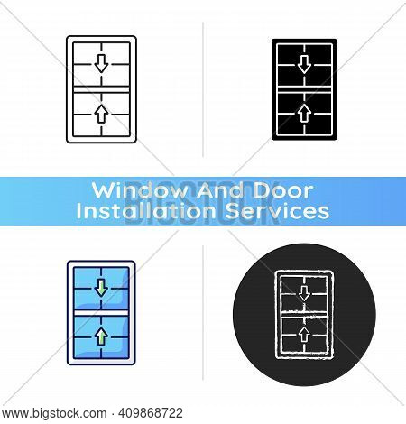 Double-hung Windows Icon. Two Operating Sash Moving Up, Down. Vertical-sliding Window. Efficient Ven