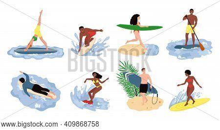 People Beach Activities. Cartoon Characters On Summer Vacation, Surfing Swimming Sunbathing Outdoor