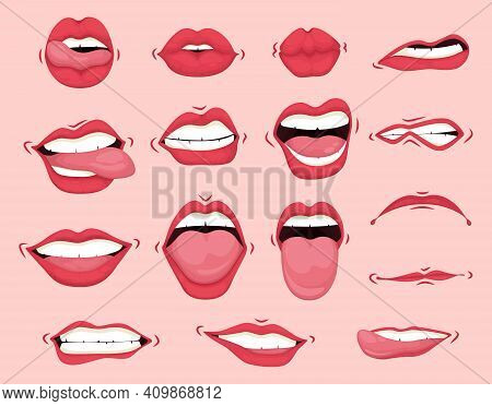 Cartoon Cute Mouth Expressions Facial Gestures Set With Pouting Lips Smiling Sticking Out Tongue. Va
