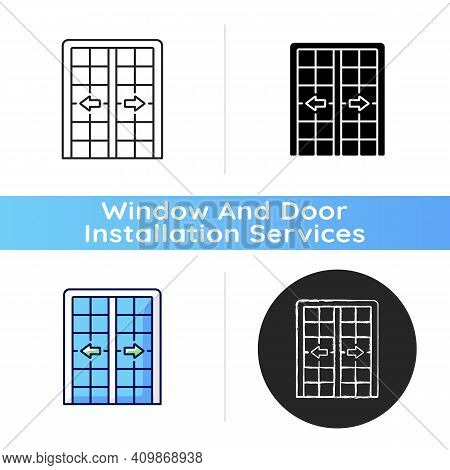 Patio Doors Icon. Sliding Glass Door. Architecture, Construction. Large Glass Window Opening. Access