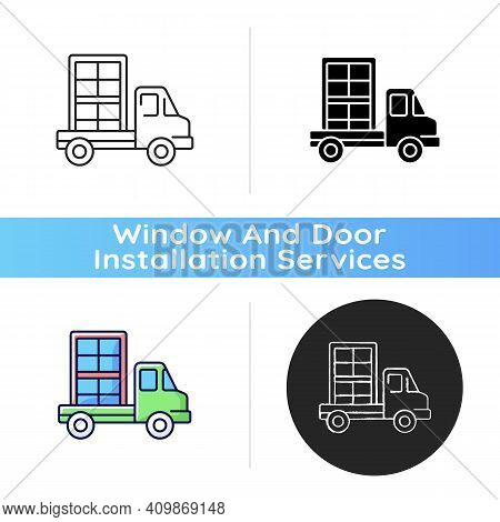 Window Delivery Icon. Customer Service. Delivering Building Materials On Residential Construction Si