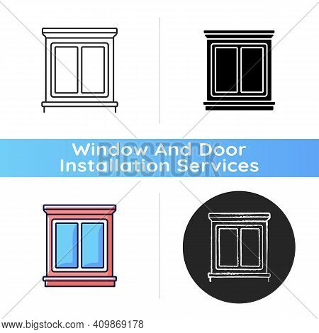 Window Interior Trim Icon. Window Decoration. House Energy Efficiency. Decorative Trim. Moulding Ins