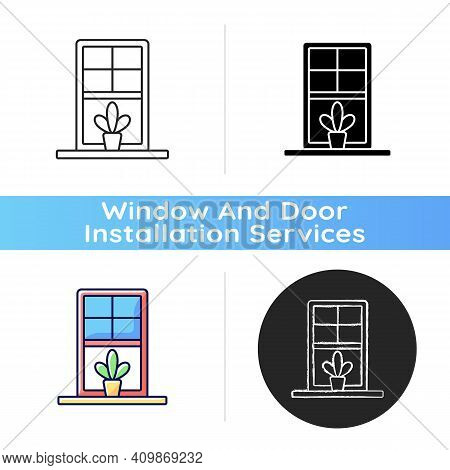 Windowsills Icon. Window Ledge. Horizontal Structure, Surface At Window Bottom. Structural Integrity