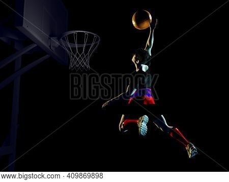 Silhouette of basketball on a black background. ,3d render