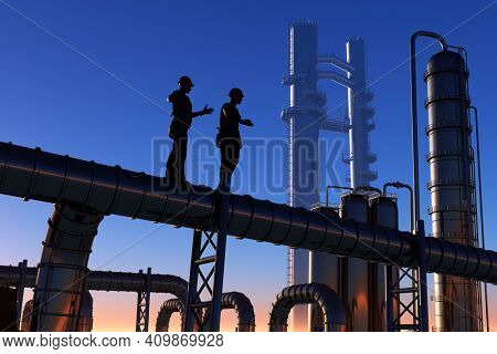 Silhouette of working on the pipe.,3d render