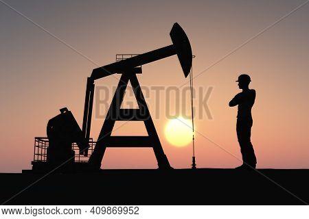 Worker produce oil. 3d render