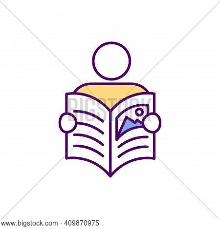 Faceless Character Reading Magazine Rgb Color Icon. Man Hold Newspaper And Reading. Fresh Newspaper