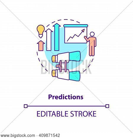 Predictions Concept Icon. Act Of Forecasting Idea Thin Line Illustration. Happening In Future. Quant