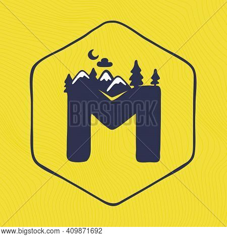 M Letter Logo With Mountains Peaks And Trees On A Landscape Line Pattern. Adventure And Outdoor Vint
