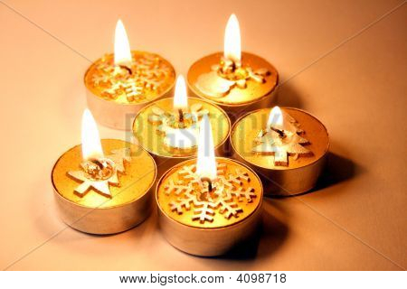 Five Golden Christmas Candles