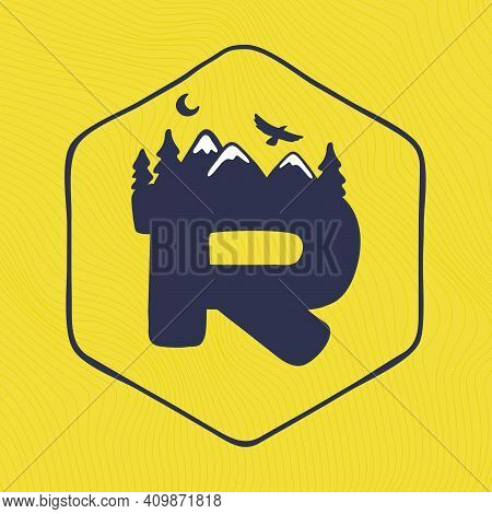 R Letter Logo With Mountains Peaks And Trees On A Landscape Line Pattern. Adventure And Outdoor Vint