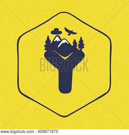 Y Letter Logo With Mountains Peaks And Trees On A Landscape Line Pattern. Adventure And Outdoor Vint