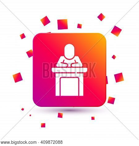 White Speaker Icon Isolated On White Background. Orator Speaking From Tribune. Public Speech. Person
