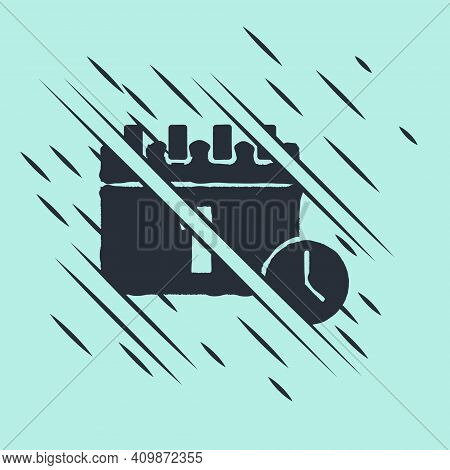 Black Calendar With First September Date Icon Isolated On Green Background. September 1. Date And Ti